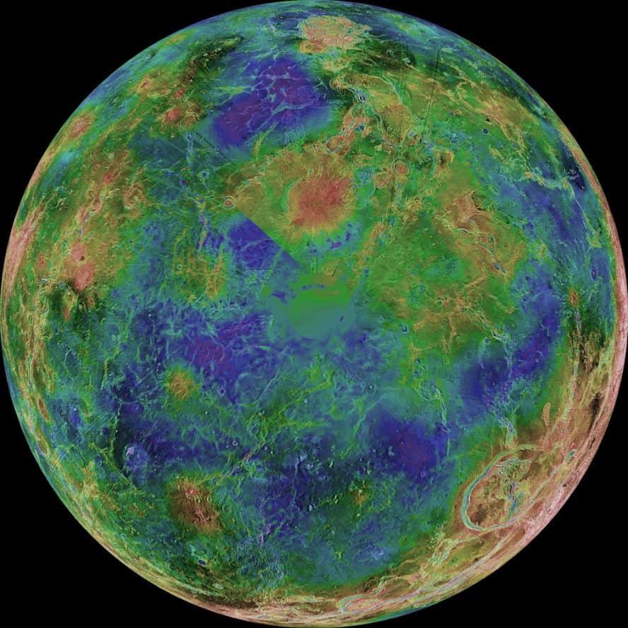Venüs gezegeni güney kutbu görüntüsü (Magellan Görevinden elde edilen radar verilerinin işlenmesiyle ortaya çıktı.)