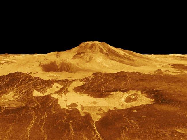 Venüs Gezegeni Yüzeyindeki Volkan Görünümü