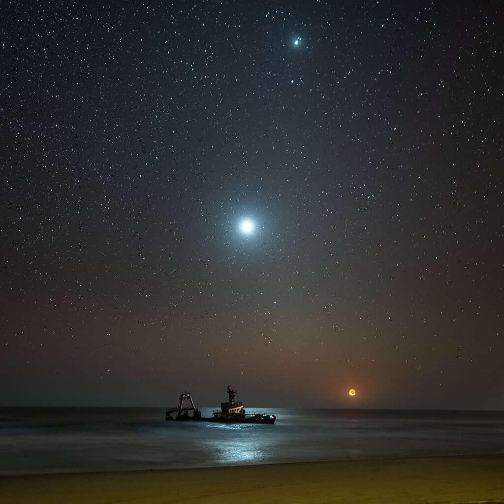 Ay, Venüs ve Jüpiter – Namibya